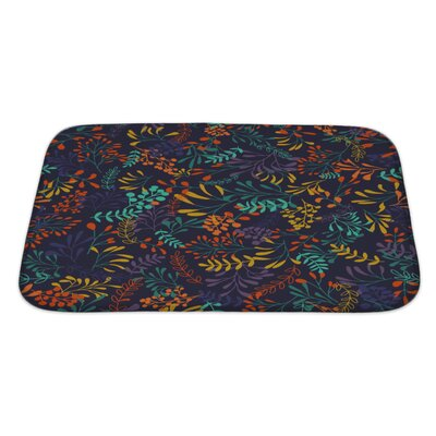 Slide Hand Draw Herbs and Leaves Nature Bath Rug Size: Large