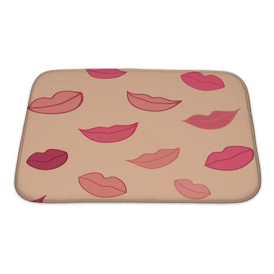 Human Touch Pattern with Woman Lips Bath Rug Size: Small