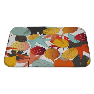 Leaves Leaf with Warm Colors of Autumn Bath Rug Size: Large
