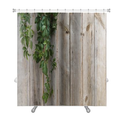 Wooden Wall with Leaves Premium Shower Curtain