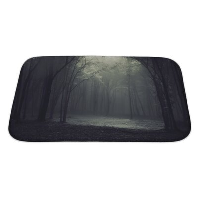 Landscapes Light in a Dark Mysterious Forest Creating a Frame Bath Rug Size: Large