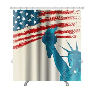Patriotic Grunge American Flag with the Statue of Liberty Premium Shower Curtain