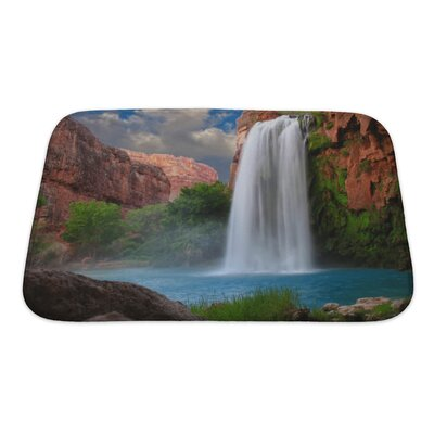 Landscapes Beautiful Waterfall Photographed with a Slow Shutter Speed to Blur the Water Bath Rug Size: Small