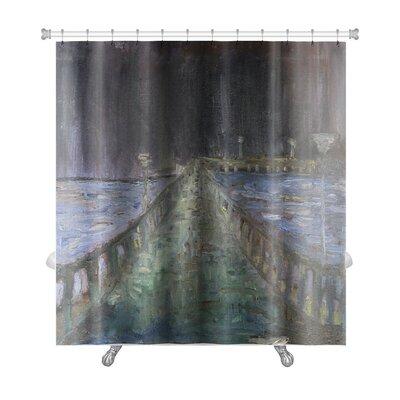 Art Alpha Night Rain in the Sea Resort Town Palanga Premium Shower Curtain