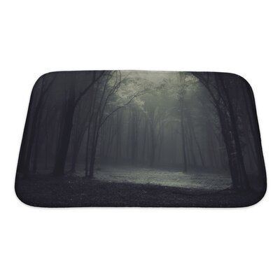Landscapes Light in a Dark Mysterious Forest Creating a Frame Bath Rug Size: Small