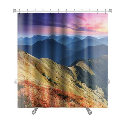 Landscapes Majestic Sunset in the Mountains Landscape HDR Image Premium Shower Curtain