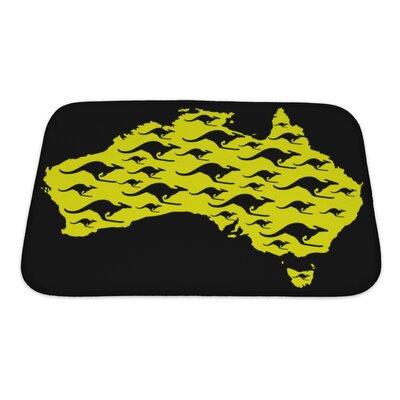 Animals Map of Australia with Kangaroo Shape Pattern Bath Rug Size: Small