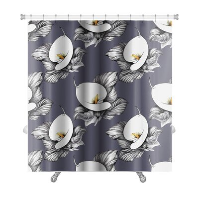 Flowers Calla Lilly Floral Premium Shower Curtain Color: Yellow
