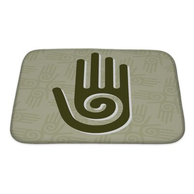 Human Touch Hand with a Spiral Symbol on the Palm Bath Rug Size: Small