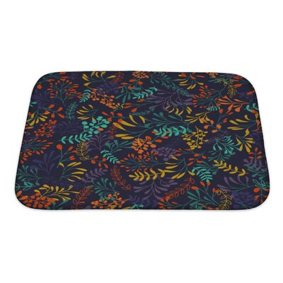Slide Hand Draw Herbs and Leaves Nature Bath Rug Size: Small