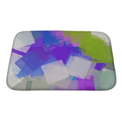 Art Beta Square Colorful Paint Brush Strokes Modern Impressionist Bath Rug Size: Small