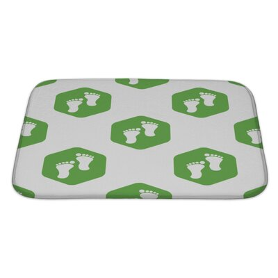 Human Touch Image of Footprint in Hexagon, Repeated Bath Rug Size: Large