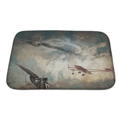 Aircraft Aviation Grunge Bath Rug Size: Small