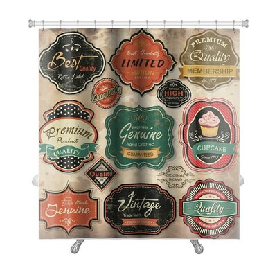 Vintage Collection of Vintage Retro Grunge Labels, Badges and Icons Premium Shower Curtain