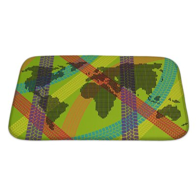 Earth Colorful Ecology Energy Tire Footprint World Map Concept Bath Rug Size: Large