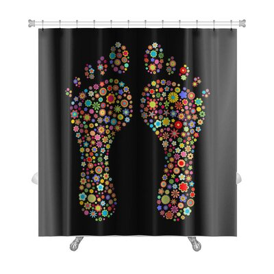 Human Touch Footprint Shape Made Up a Lot of Multicolored Small Flowers Premium Shower Curtain