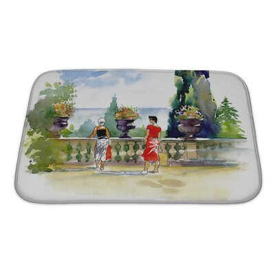 Art Touch Watercolor Painting with Resort Balcony with Couple Bath Rug Size: Small