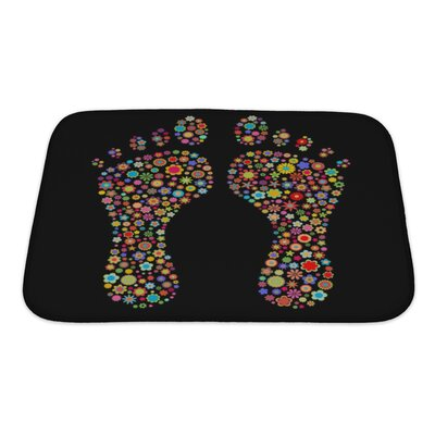 Human Touch Footprint Shape Made Up a Lot of Multicolored Small Flowers on The Black Bath Rug Size: Small