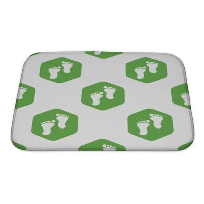 Human Touch Image of Footprint in Hexagon, Repeated Bath Rug Size: Small