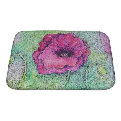 Art Soft Bright Colorful Artistic Watercolor and Ink of a Flower Bath Rug Size: Small