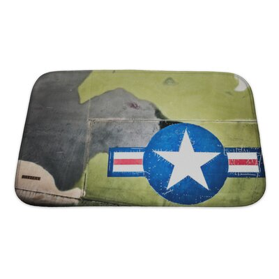 Patriotic Airplane with United States Air Force Sign Bath Rug Size: Small