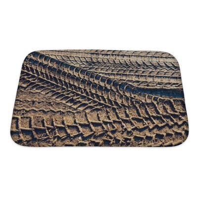 Cars Wheel Tracks on the Soil, Closeup Pattern Bath Rug Size: Small