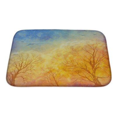 Art Primo Autumn Landscape with Trees, Dramatic Sky, Migratory Birds Bath Rug Size: Small
