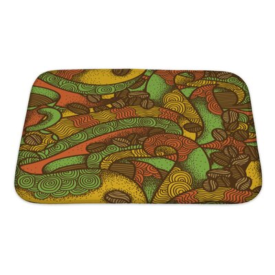 Simple Coffee Flavor Hand Drawn Graphic Ornate Warm Colors Pattern Bath Mat/Rug Size: Small