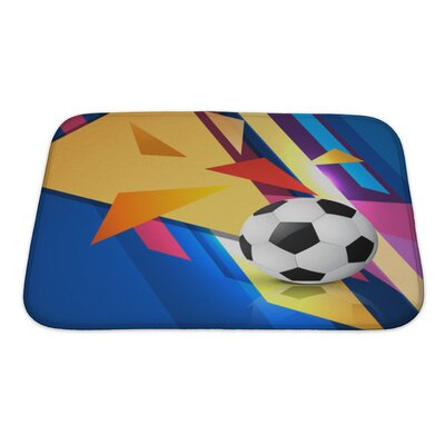 Soccer Colorful Abstract Football Bath Rug Size: Small