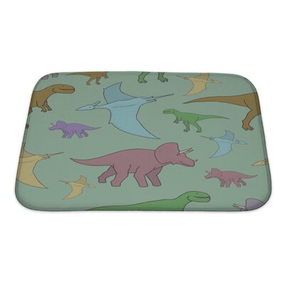 Dinosaurs with Colorful Hand Bath Rug Size: Small