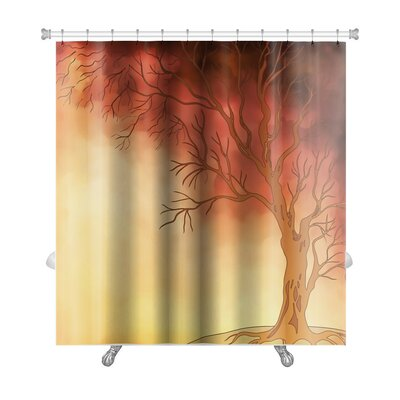 Nature Watercolor Landscape with Autumn Tree Digital Painting Premium Shower Curtain