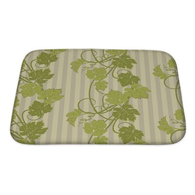 Leaves Repeating Pattern with Vines in Vintage Style Bath Rug Size: Small