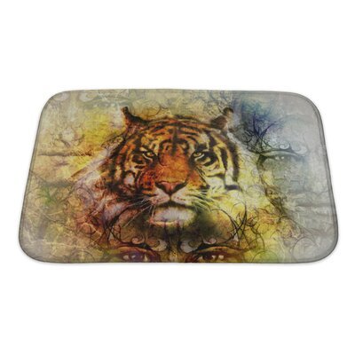 Animals Painting of a Bright Mighty Tiger Head Bath Rug Size: Small