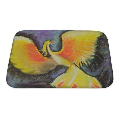 Birds Yellow Fairytale Phoenix Bath Rug Size: Small