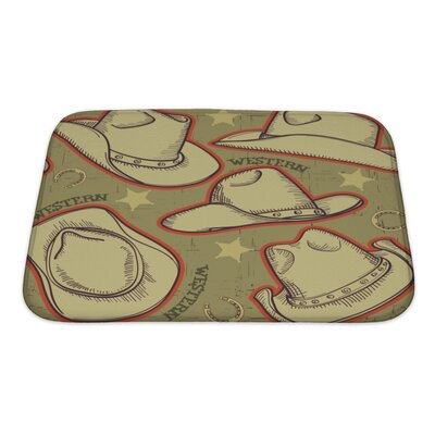 Vintage Cowboy Hats Pattern for Western Bath Rug Size: Small