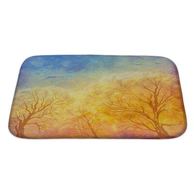 Art Primo Autumn Landscape with Trees, Dramatic Sky, Migratory Birds Bath Rug Size: Large
