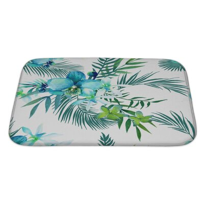 Art Touch Tropical Flowers and Palm Leaves Bath Rug Size: Large