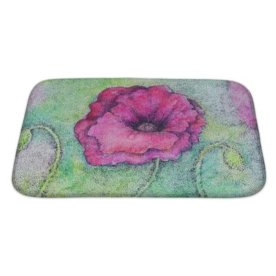 Art Soft Bright Colorful Artistic Watercolor and Ink of a Flower Bath Rug Size: Large