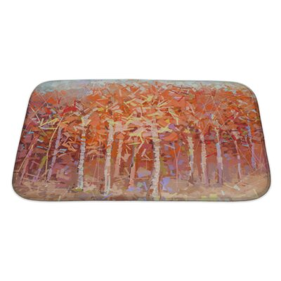 Art Primo Abstract Oil Painting Landscape Colorful Autumn Forest Bath Rug Size: Large