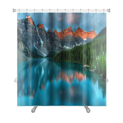 Landscapes During the Morning Sunrise at Moraine Lake, Banff National Park Premium Shower Curtain