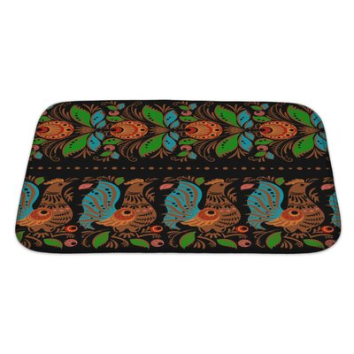 Simple Folk Gorodets Traditional Painting Pattern with Flowers and Birds Bath Rug Size: Large