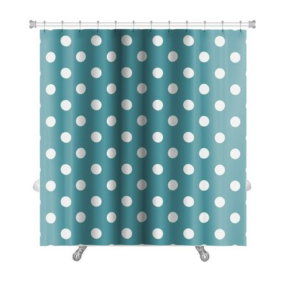 Beta Polka Dots on Ocean Premium Shower Curtain