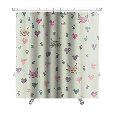 Animals Cartoon of Cat Footprint Premium Shower Curtain