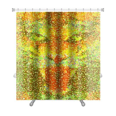 Animals Abstract Tiger Geometric Hipster Poster in Pointillism Style Premium Shower Curtain Color: Yellow