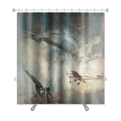 Aircraft Aviation Grunge Premium Shower Curtain