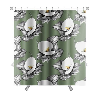 Flowers Calla Lilly Floral Premium Shower Curtain Color: Green