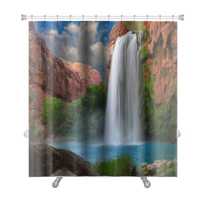 Landscapes Beautiful Waterfall Photographed with a Slow Shutter Speed to Blur the Water Premium Shower Curtain