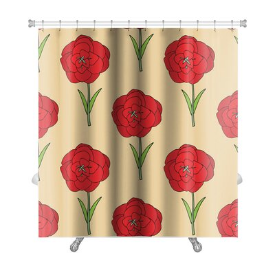 Flowers Seamles Floral with Flowers Premium Shower Curtain