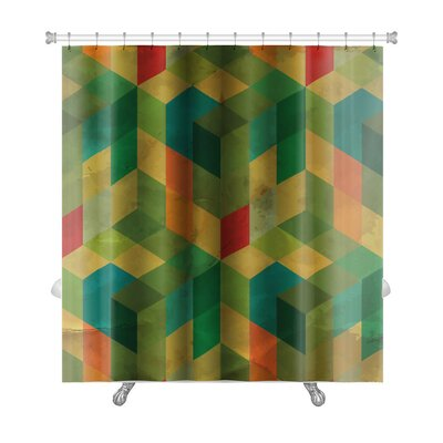 Delta Vintage Pattern Abstract Premium Shower Curtain Color: Green