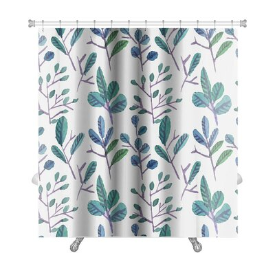 Primo Watercolor Leaf Pattern with Flowers Premium Shower Curtain